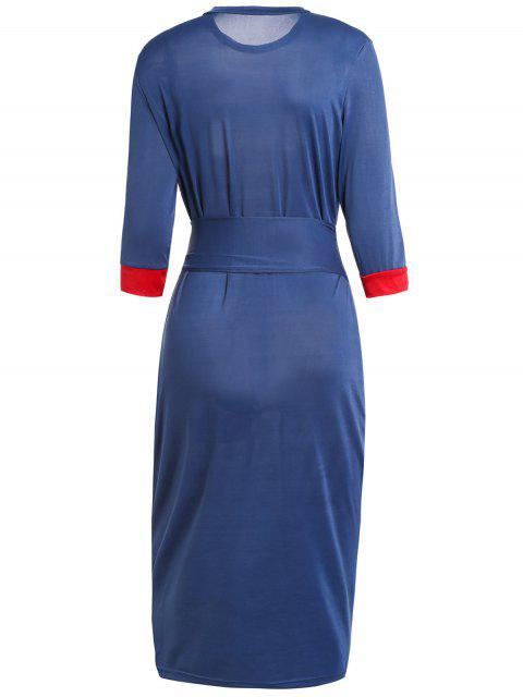 latest Hit Color Stand Neck 3/4 Sleeve Dress - PURPLISH BLUE M Mobile