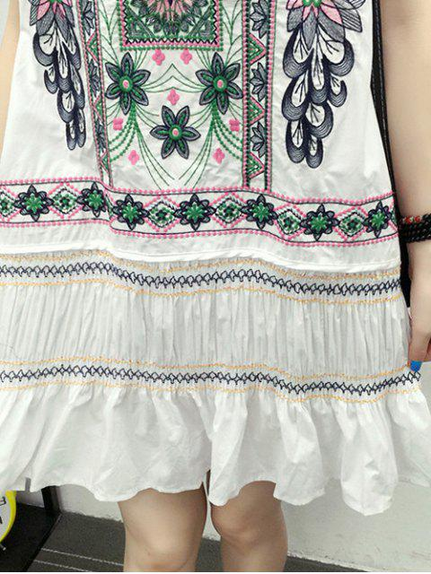 ladies Embroidered Ruffle Ethnic Tank Dress - WHITE L Mobile