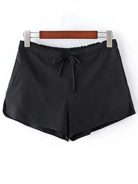 womens Pure Color Straight Leg Drawstring Shorts - BLACK ONE SIZE(FIT SIZE XS TO M) Mobile
