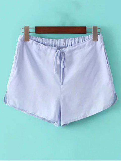 ladies Pure Color Straight Leg Drawstring Shorts - LIGHT BLUE ONE SIZE(FIT SIZE XS TO M) Mobile