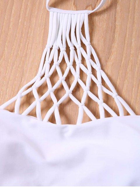 hot Solid Color Halter Mesh Bikini Set - WHITE XL Mobile