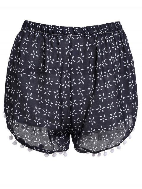 women Tiny Floral Print Irregular Hem Laciness Shorts - CADETBLUE L Mobile