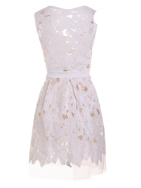 Plunging Neck Floral Pattern Openwork Sleeveless Dress - Weiß S Mobile