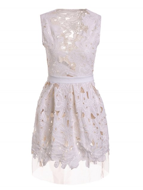 womens Plunging Neck Floral Pattern Openwork Sleeveless Dress - WHITE L Mobile