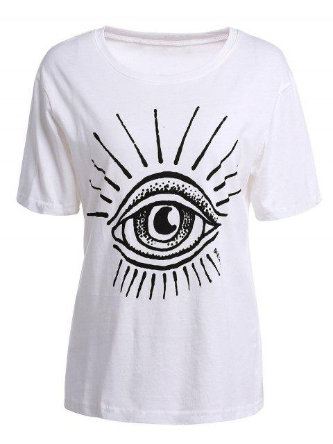 buy Eye Print Short Sleeve T-Shirt - WHITE S Mobile