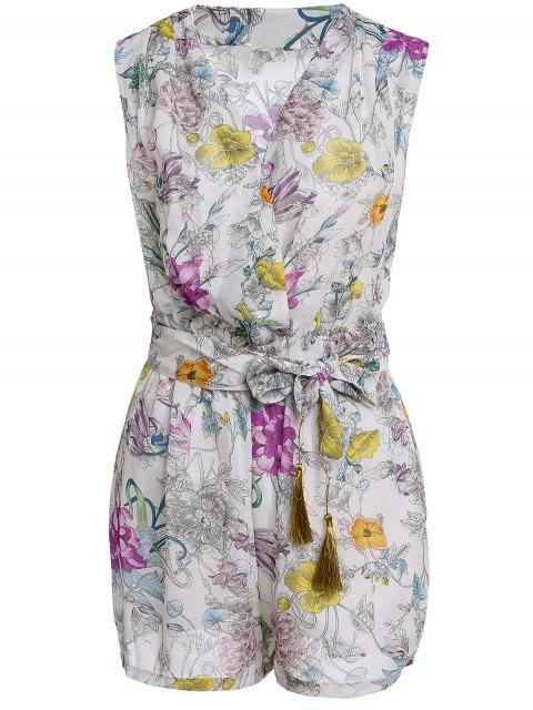 fashion Flower Print V Neck Sleeveless Romper - OFF-WHITE L Mobile