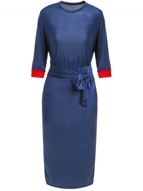 fashion Hit Color Stand Neck 3/4 Sleeve Dress - PURPLISH BLUE XL Mobile