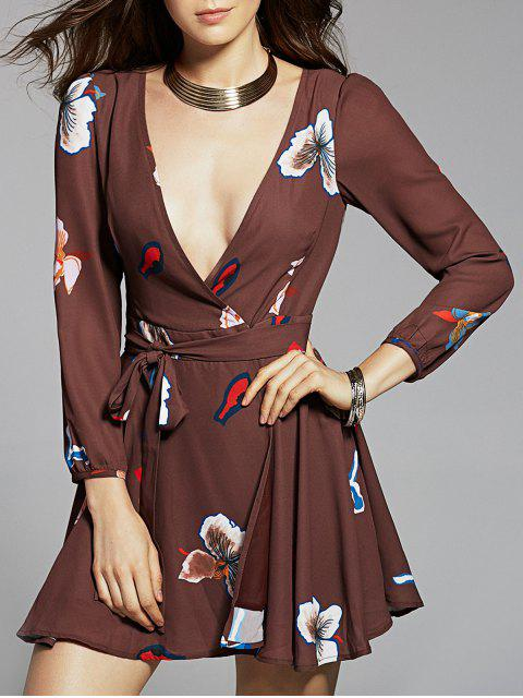 latest Long Sleeve Chiffon Surplice Dress - COFFEE 2XL Mobile