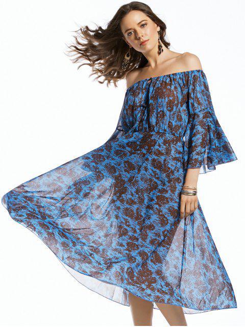 women's Print Off The Shoulder 3/4 Sleeve Irregular Hem Dress - PURPLISH BLUE M Mobile