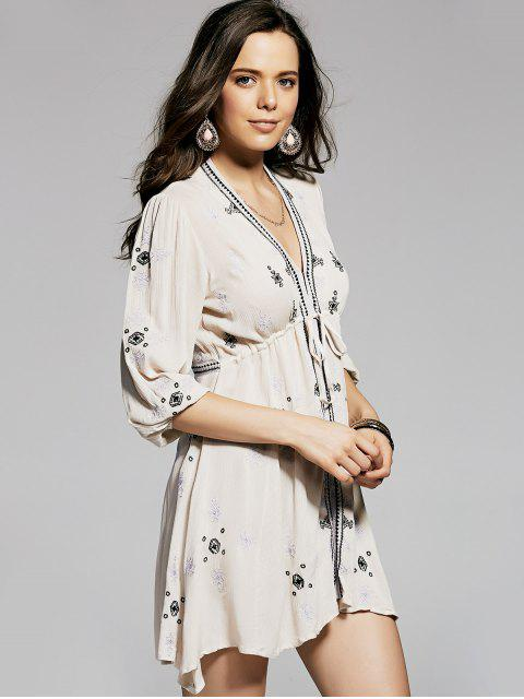 women's Retro Embroidery Plunging Neck 3/4 Sleeve Dress - NUDE S Mobile