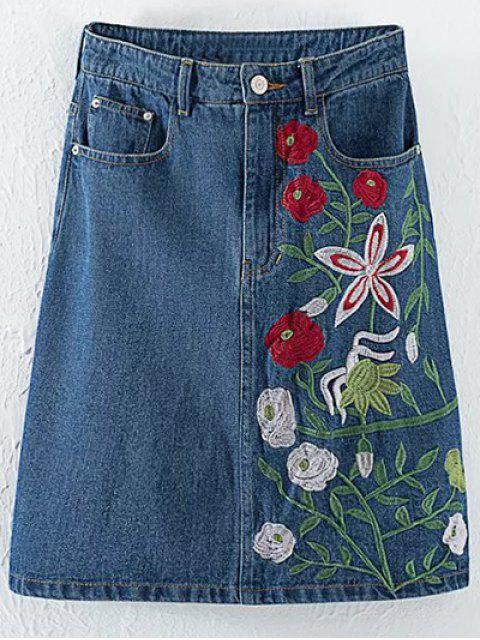 ladies Floral Embroidery High Waisted Denim Skirt - DENIM BLUE M Mobile