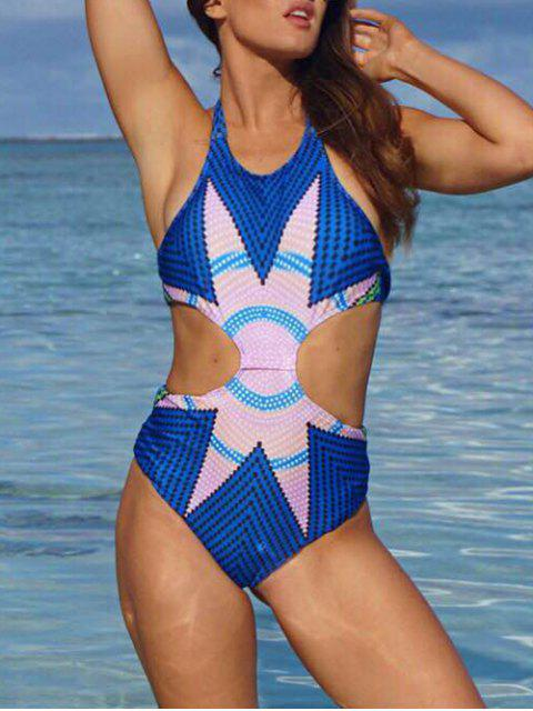 online Fashion Printed Halter One-Piece Swimwear - BLUE M Mobile