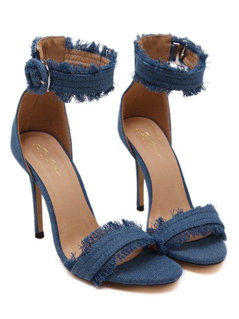 womens Denim Ankle Strap Stiletto Heel Sandals -   Mobile