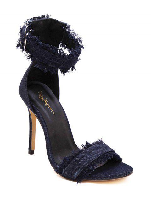 lady Denim Ankle Strap Stiletto Heel Sandals -   Mobile