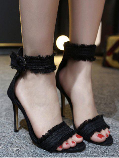 online Denim Ankle Strap Stiletto Heel Sandals -   Mobile