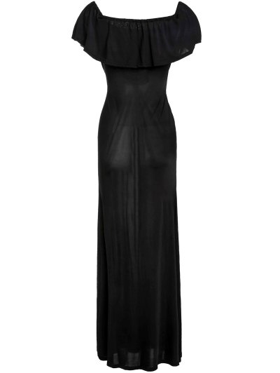 Black Off The Shoulder Maxi Dress - Black Xl