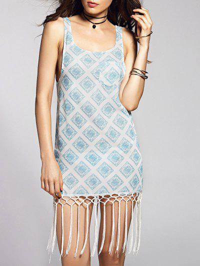 Scoop Neck Geometric Print Tank Dress