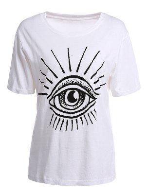 Ojo De Impresión De Manga Corta Camiseta - Blanco 2xl