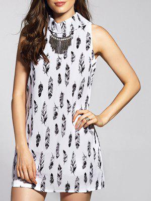 Sleeveless Feather Print Dress - White Xl