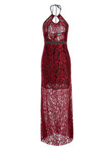9f3049de898 31% OFF  2019 Backless Hollow Out Lace Sleeveless Maxi Dress In WINE ...