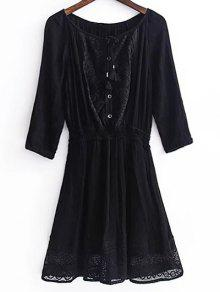 Lace Splice 3/4 Sleeve Black Dress - Black S