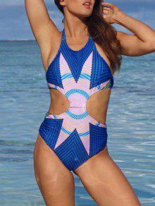Buy Fashion Printed Halter One-Piece Swimwear - BLUE M