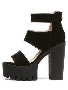 Suede Platform Chunky Heel Sandals BLACK: Sandals 39 | ZAFUL