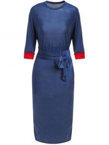 Hit Color Stand Neck 3/4 Sleeve Dress - Purplish Blue L