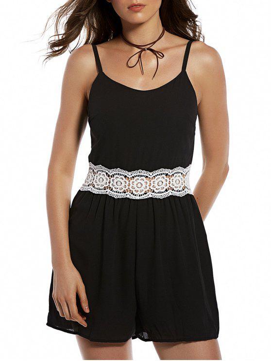 sale Zippered Lace Spliced Cami Romper - BLACK S