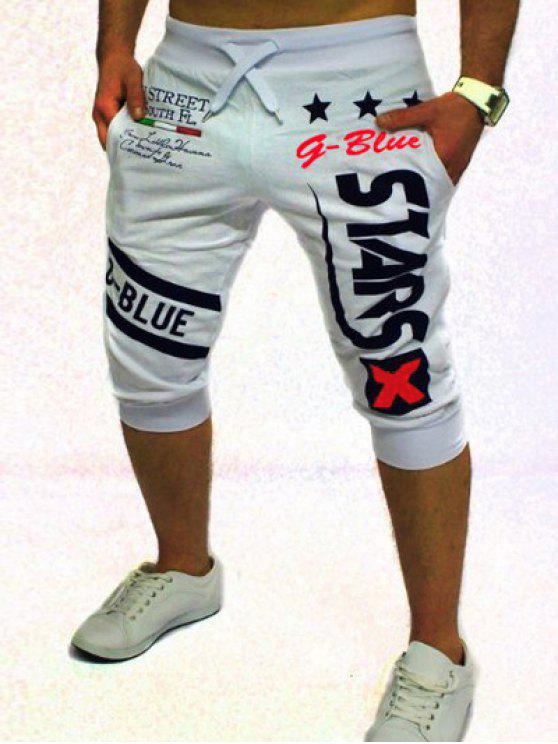 Short de jogging à lacets imprimé graphique et étoile - Blanc L