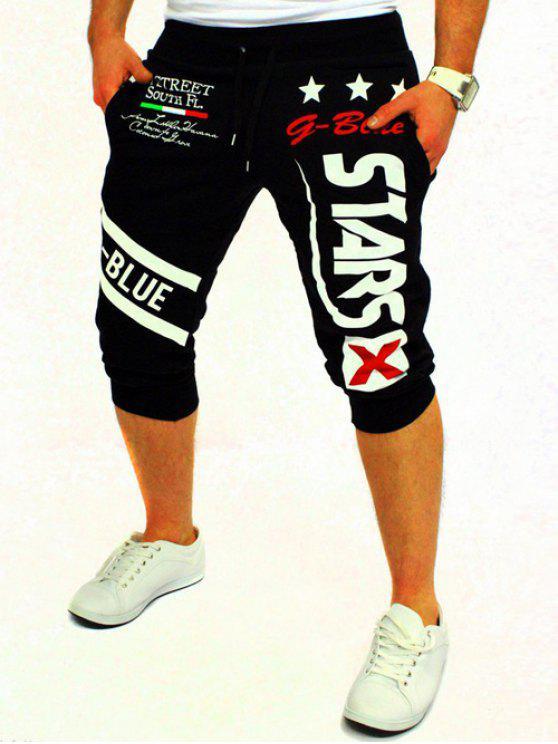 Grafik und Stern gedruckt Lace-Up Jogger Shorts - Schwarz M