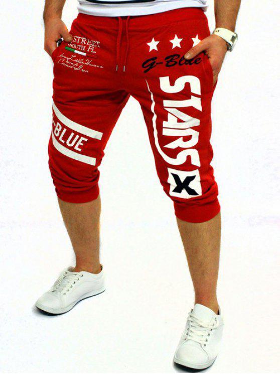 Letra y estrellas impresas en color sólido de encaje de pantalones cortos para los hombres - Rojo XL