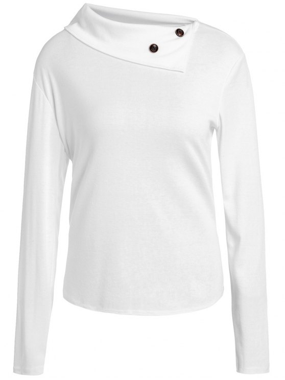 3660f0ec0d59 Casual Buttoned Cowl Neck Solid Color Long Sleeve T-Shirt For Women - White  L