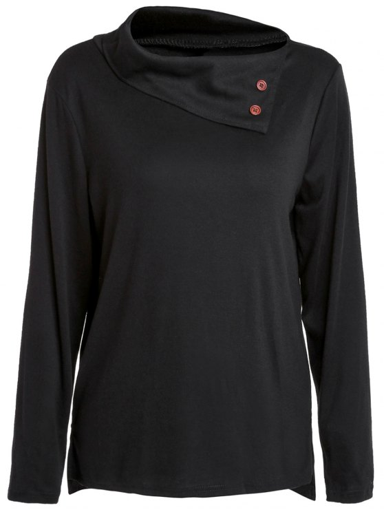 Casual Buttoned Cowl Neck Solid Color Long Sleeve T-Shirt For Women - Black  M 338577a5aac