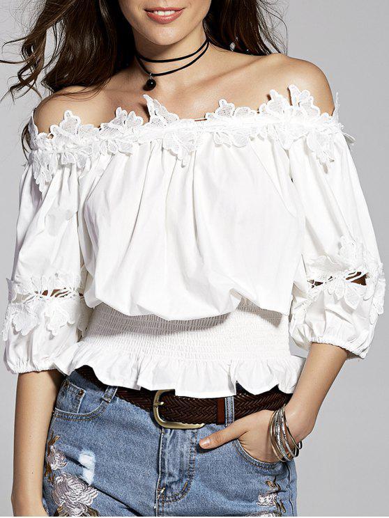 Lace Splice weg von der Schulter 3/4 Hülsen-Bluse - Weiß M