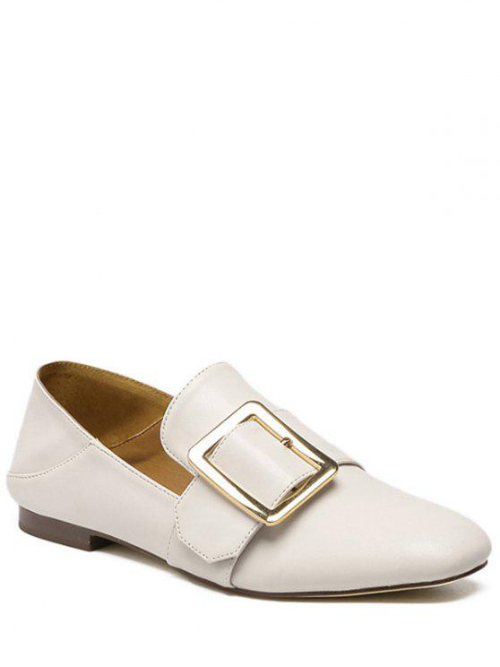 affordable Square Toe Buckle Solid Color Flat Shoes - OFF-WHITE 37