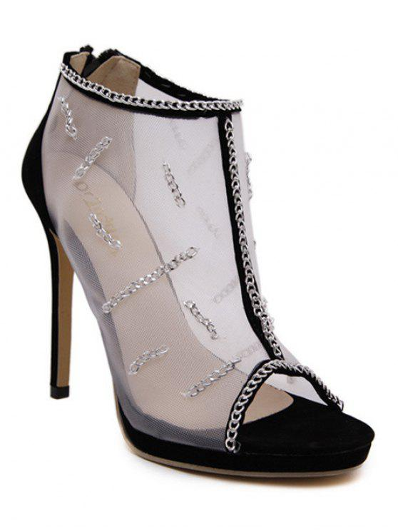 fashion Gauze Chains Stiletto Heel Peep Toe Shoes - BLACK 38