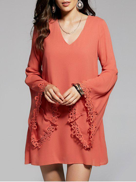Llamarada de la manga con cuello en V vestido de gasa - Naranja Dulce L