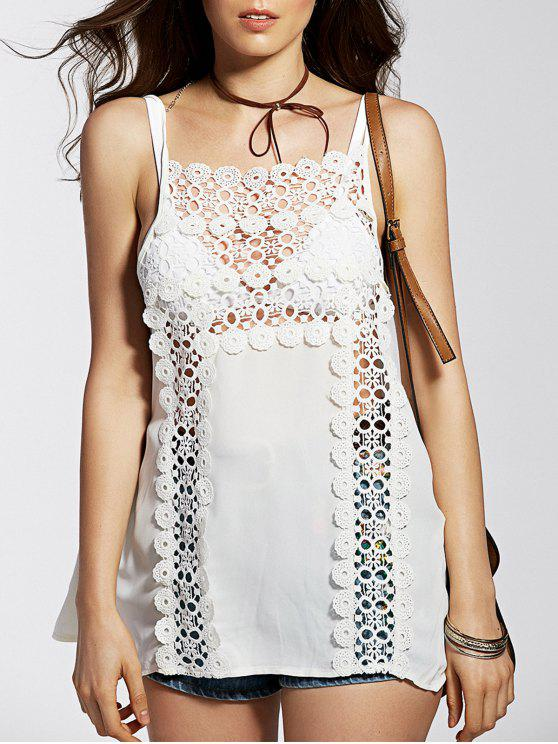 affordable Spaghetti Straps Cut Out Lace Spliced Tank Top - WHITE L