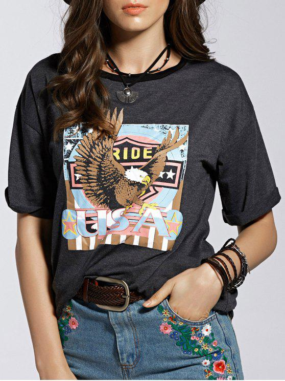lady Eagle Letter Graphic Short Sleeve T-Shirt - GRAY L