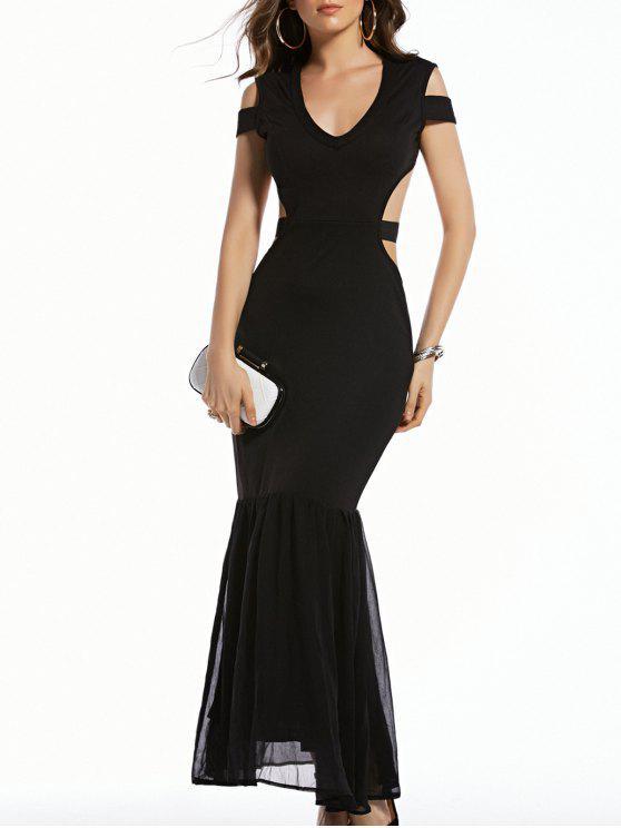 hot Cold Shoulder Plunging Neck Formal Maxi Dress - BLACK S