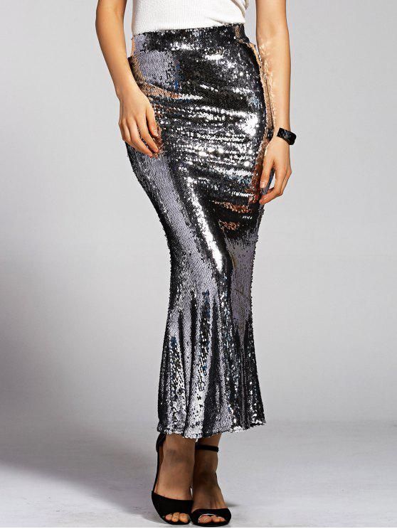 shop Silver Sequined High Waist Mermaid Skirt - SILVER S