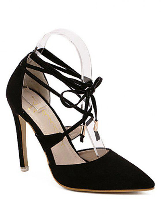De punta estrecha sandalias Negro con cordones - Negro 37