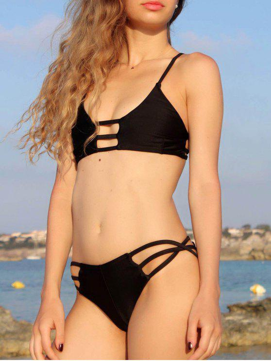 hot Strappy Black Bikini Set - BLACK S