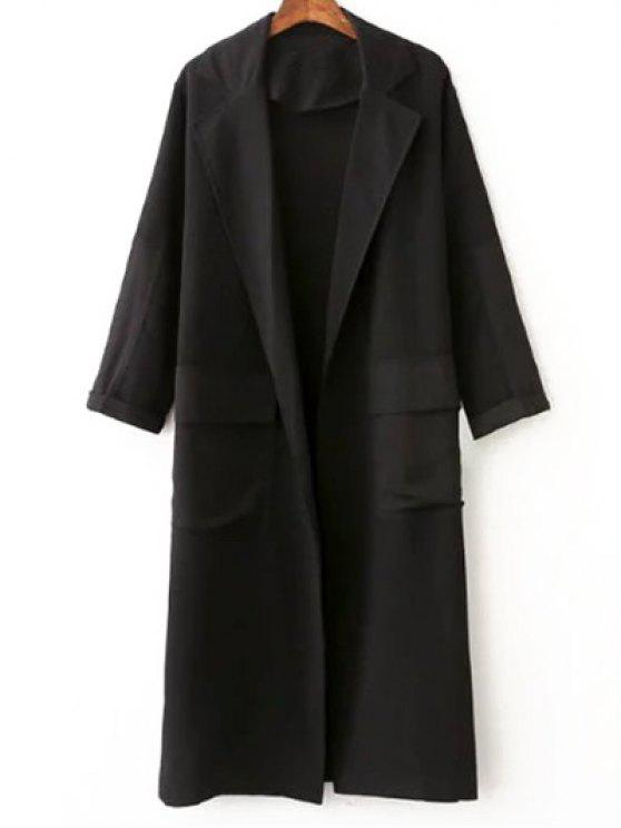 fancy Side Slit Lapel Collar Solid Color Long Coat - BLACK L