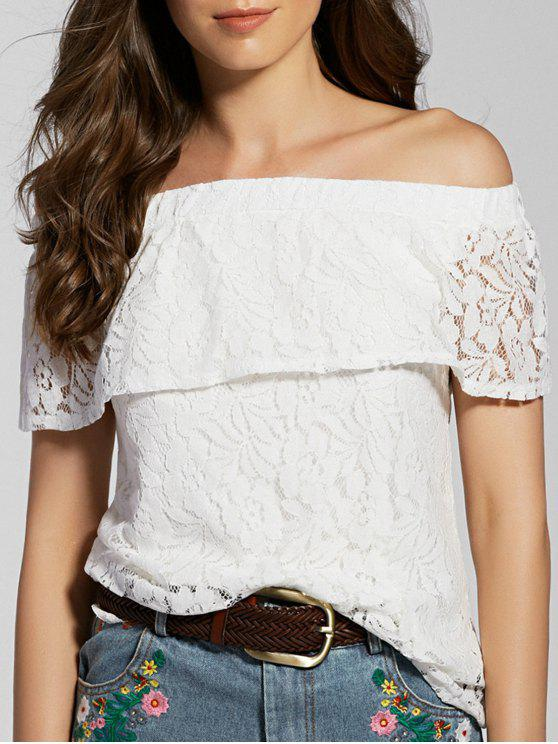 ladies Full Lace Off The Shoulder Flounce Blouse - WHITE S
