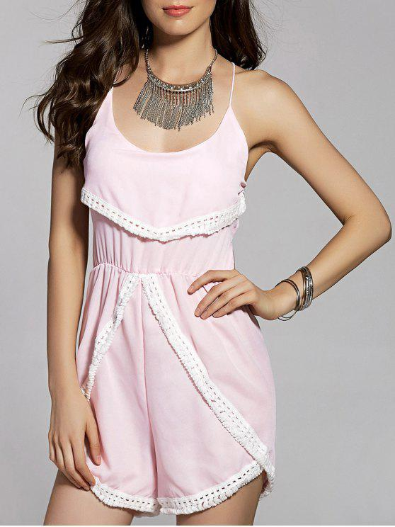 Combishort cami femme dos nu frangé embelli patchwork de dentelle - Rose Clair L