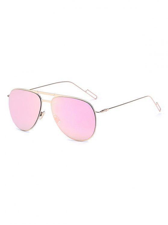 best Golden Mirrored Pilot Sunglasses - PINK