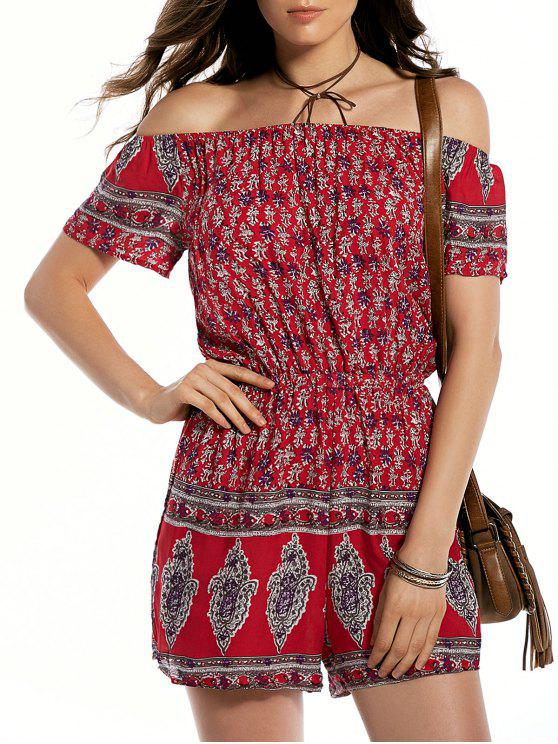50f0e10485ac Ethnic Print Off The Shoulder Playsuit RED  Jumpsuits   Rompers 2XL ...