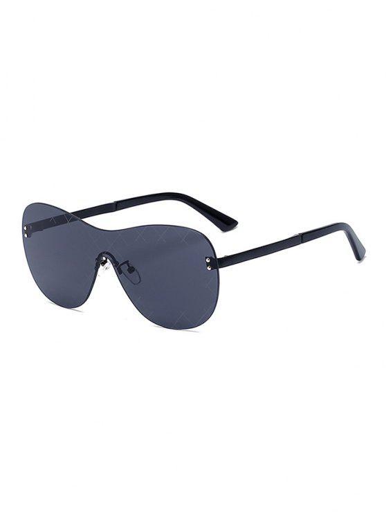 new Plaid Mesh Black Shield Sunglasses - BLACK